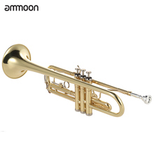 ammoon Trumpet Bb B Flat High-quality Brass Gold-painted Trumpet with ammoon AMT-01GB 3in1 Metro-Tuner