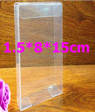Clear pvc scarf packaging box wholesale plastic PVC gift boxes size 1.5*8*15cm 20pcs/lot(China)