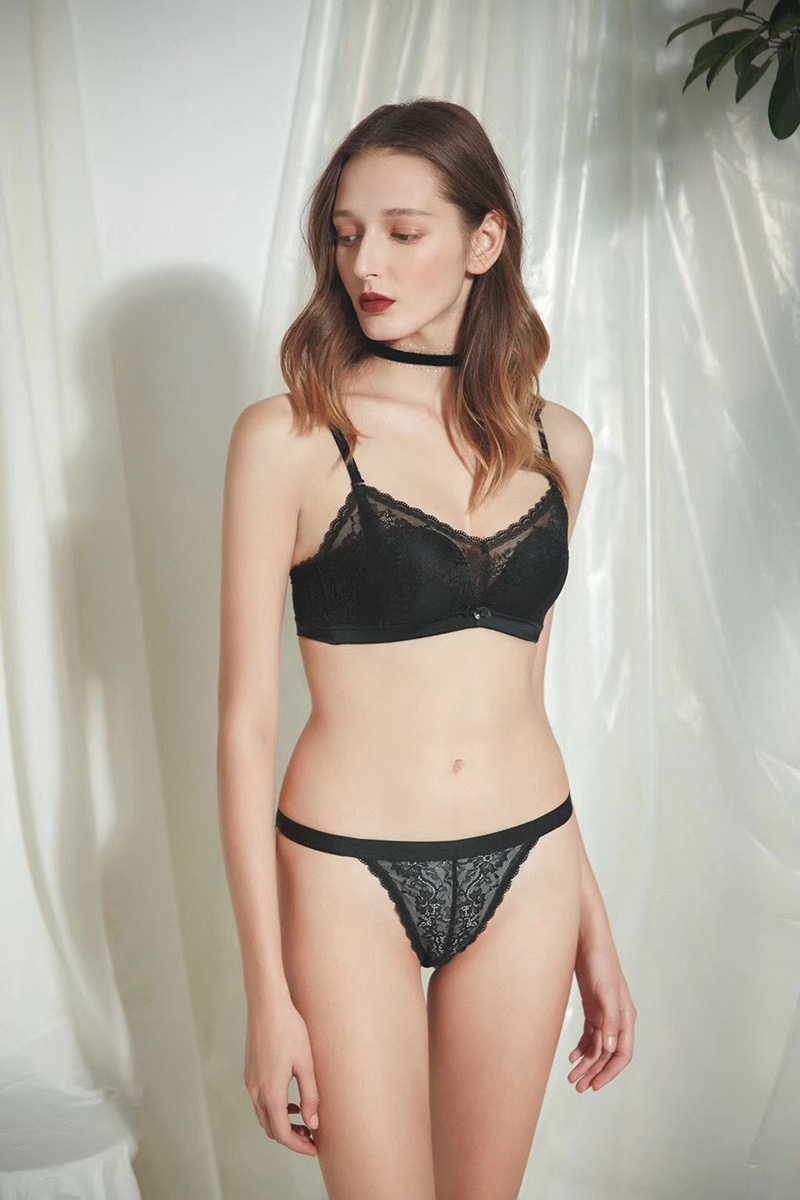 Woman Wire Free Push Up Bra Set Comfortable Breathable Lady Underwear Lace Lingerie Set Sexy Panties and Brassiere Sets
