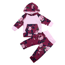 Special Price Newborn Baby Toddler Girl the lastest trend Floral Hooded Tops T-shirt+Pants Outfit Clothes Set For Adorable Child