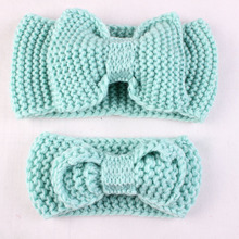 Mommy and Me Headband Knitted Headband Winter Ear Warmer Crochet Bow Headband Photo Prop Hair Accessories