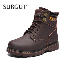 SURGUT Brand Men (High) 저 (Quality 편안한 Keep Warm 봉 제 Winter 눈 Boots Hot Sale 캐주얼 Working Shoes Plus Big Size 38 ~ 46(China)