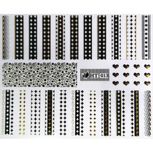 1X SELF ADHESIVE BLACK WHITE GOLD SILVER METAL NAIL ART STICKER DECAL SLIDER LACE CHAIN LINE CAP HEARTS SQUARE HT13-15(China)