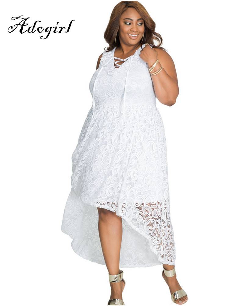 Adogirl 2017 Summer Sexy White Lace Plus Sizes 3XL 4XL Hi-Low Dresses-1