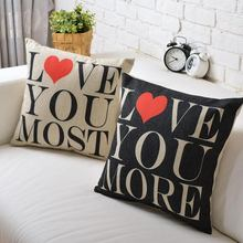 SIMPLE LOVE couples wedding gift Linen Cotton Cushion Linen Pillow   home decorate sofa cushions