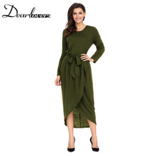 Dear lovers 2017 New Autumn Winter Casual Jersey Dress for Women Elegant Long Sleeve Office Dress LC61818 Blue Black Green(China)