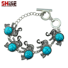 SHIJIE Boho Turquoises Elephant Charms Bracelets for Women Vintage Lovely Silver color Chain Men Bracelet Bangle Fashion Jewelry