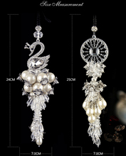 Fashion Dream Catcher Swan ornaments car hanging pendant decorations rear view mirror crystal car styling interior accessories(China)