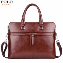 VICUNA POLO Causal Business Double Layer Business Man Briefcase Large Brand Mens Leather Laptop Bags OL Men Shoulder Bag Handbag