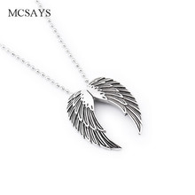 MCSAYS Stainless Steel Punk Biker Necklace Clear Line Angle Wings Pendant Bead Chain Silver Color Necklace Mens Jewelry Gift 3GM