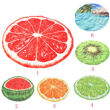KXAAXS Bohemian Round Beach towel circle Watermelon Oranges Fruits Design Round Hippie Tapestry Beach Picnic Throw Yoga Mat