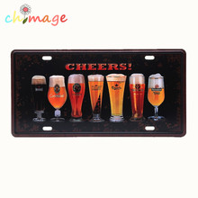 CHEERS BEER CAR PLATE Vintage Tin Sign Bar pub home Wall Decor Retro Metal Art Poster(China)