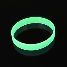 Blue Yellow Green Glow in the Dark width rubber hand bands silicone bracelets Elastic Rubber wristband 12x2mm 6color Bracelet(China)