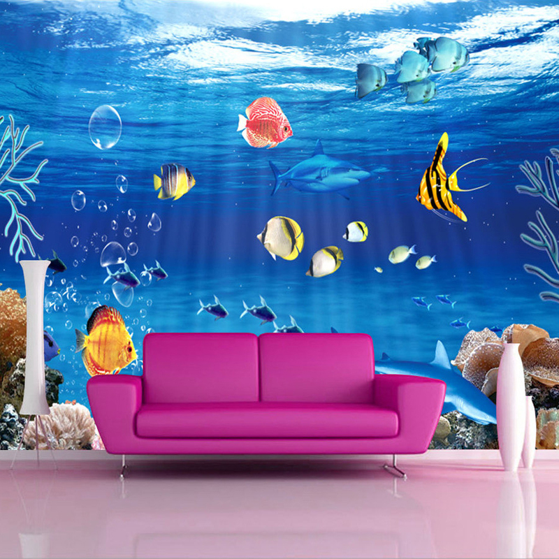 Custom 3D Cartoon Undersea World Fish Coral Mural Wallpaper On The Walls 3D Non-woven Wall Mural Paper For Kids Room Backdrop<br><br>Aliexpress