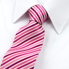 2016 New Arrival Guaranteed 100% Silk Ties For Men Fashion Brand Pink White Stripe Ties Designers Marriage Tie 7cm Wholesale(China)