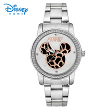 Disney Mickey Mouse Women Watches Gold Silver Leopard Mickey Mouse Fashion Stainless Steel Quartz Watch Ladies Watch(China)