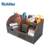Half PU Leather Desk Stationery Organizer Pen Pencil Holder Box Storage Case Container Multi Function Wood Structure(China)