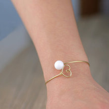 Gold plated pearl heart wiring adjustable bangle Handmade Sterling Silver mother bracelet gem stone jewelry presents