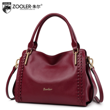 ZOOLER BRAND quality Genuine Leather bag women leather handbag top handle for women cowhide shoulder messenger bag 2017#1119(China)