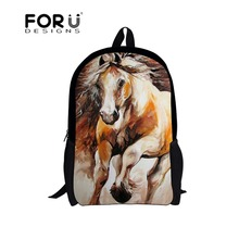 2016 fashion school bag crazy horse item with zipper for child,new design horse backpacks gift for kids boys girls back pack