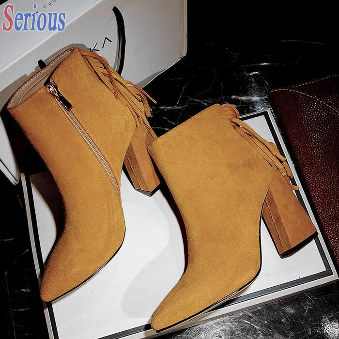 Women 2016 New Nude Boots Back Rivets Tassel Fringe Knight Boots Chunky Heel Pointy Toe Botas Zapatos Mujuer<br><br>Aliexpress