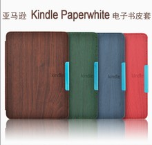 Wood Pattern leather cover case funda for Amazon Kindle Paperwhite 1/2/3 (2012 2013 2014 2015 versions)  6'' ereader+film+stylus