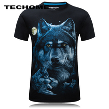TECHOME Brand 3D Shirt 6XL Size Printed Wolf Animal Causal Brand-clothing Short Sleeve T-shirts Punk Male Tees O Neck Camisetas