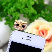 Pearl big eye Owl Earphone 3.5 audio Dust Plug 3.5mm AUX Jack for apple Iphone 4 5 6 Xiaomi Huawei OPPO VIVO PC latop cork Korea(China)