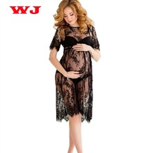 New Women Lace Dress Casual Long Black Short Sleeve O Neck See Through Beach Wear Dresses Plus Size