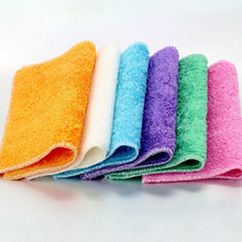 New PracticalEfficient Anti-grease Color Dish Cloth Bamboo Fiber Washing Towel Magic Kitchen Cleaning Wiping Rags Random Color