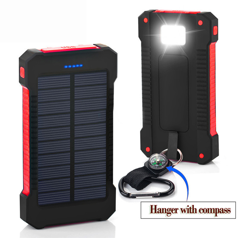 New Waterproof Solar Power Bank 10000mah Dual USB Solar Battery Charger With LED Flashlight Compass SOS for smart phone<br><br>Aliexpress