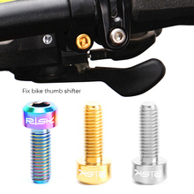 RISK 2PCS Bolts for Bike Thumb Shifter Fixed Screws Ti Conjoined Hexagon Ti Screws Ti Fastener MTB Bicycle Part M5*14mm Titanium(China)