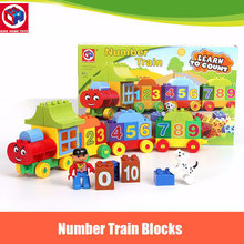 Kids's Home Toys My First Number Train Model 50PCS/SET Large Size Building Blocks Duplo Large Particles Brick Toy For Kids Gift(China)