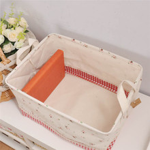 Home Decor Cotton Linen Storage Box 2016 New Foldable Office Bedroom Desk Cosmetic Makeup Toys Clothes Storage Pouch Boxes(China)