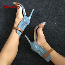 Sexy New Pumps Mixed Colors Female Gladiator Sandals Women Choudory Summer Cowboy Denim Boots Thin High Heels Buckle Shoes Woman