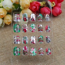 Fashion Christmas Nails Tips Designs Reflective Mirror Full False Nails Kids False Nails DIY(China)