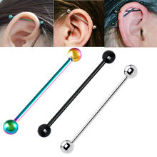 1piece Stainless Steel Long Industrial Barbell Ball Cartilage Piercing Earring Stud ear tunnel plug body jewelry 14G men pircing