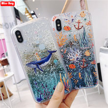 Dolphin Coral Phone Case for Xiaomi Pocophone F1 Mi8 mi 8 A2 A1 Mix 2S Max 3 Liquid Glitter Cover for Redmi 5 Plus Note 5 Fundas(China)