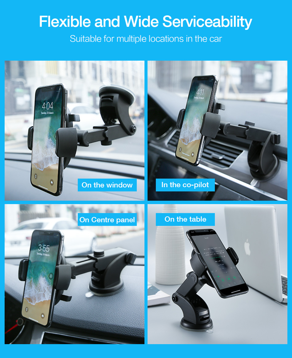 RAXFLY Telescopic Automatic Lock Car Holder 360 Rotation Adsorption Vehicle Mount Bracket Car Phone Holder For Samsung S9 Plus (3)