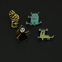 1PC Alloy Cute Animal Brooches Enamel Pin Green Monster Dog Zebra Skull Pins And Brooches Pin For Women Girl Funny Badge Jewelry(China)
