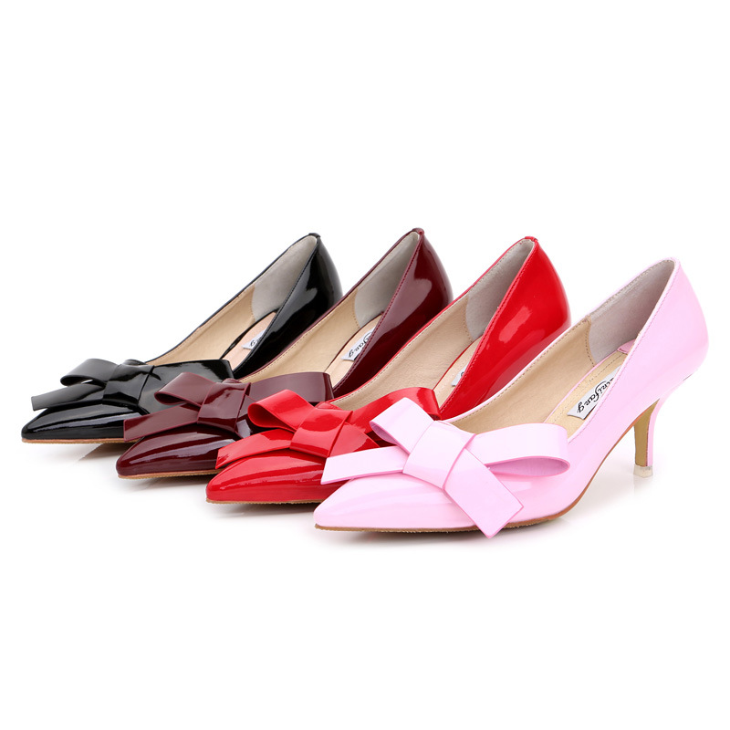 Ladies Sexy Plus size 34-43 Bow-Knot Shallow Mouth Patent leather Pointy toe High heels Shoes Women Pumps Stilettos Cinderella<br>