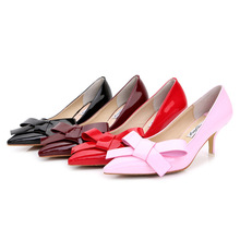 Buy Ladies Sexy Plus size 34-43 Bow-Knot Shallow Mouth Patent leather Pointy toe High heels Shoes Women Pumps Stilettos Cinderella for $26.40 in AliExpress store