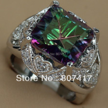 Best sell Rainbow and White Cubic Zirconia jewelry Silver Plated Promotion Romantic Ring R770 sz#6 7 8 9 Engagement Wedding Punk