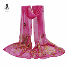 FEITONG 2017 Fashion Nylon Silk Scarf Luxury Woman Brand Scarves for Women Shawl High Quality Peacock Flower Print wraps#YL(China)