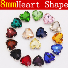 8mm 20pcs All Colors Heart Shape Sew On Rhinestones with Claw Flatback Setting Glass Crystal Sew Stones For Bags Dresses B2380