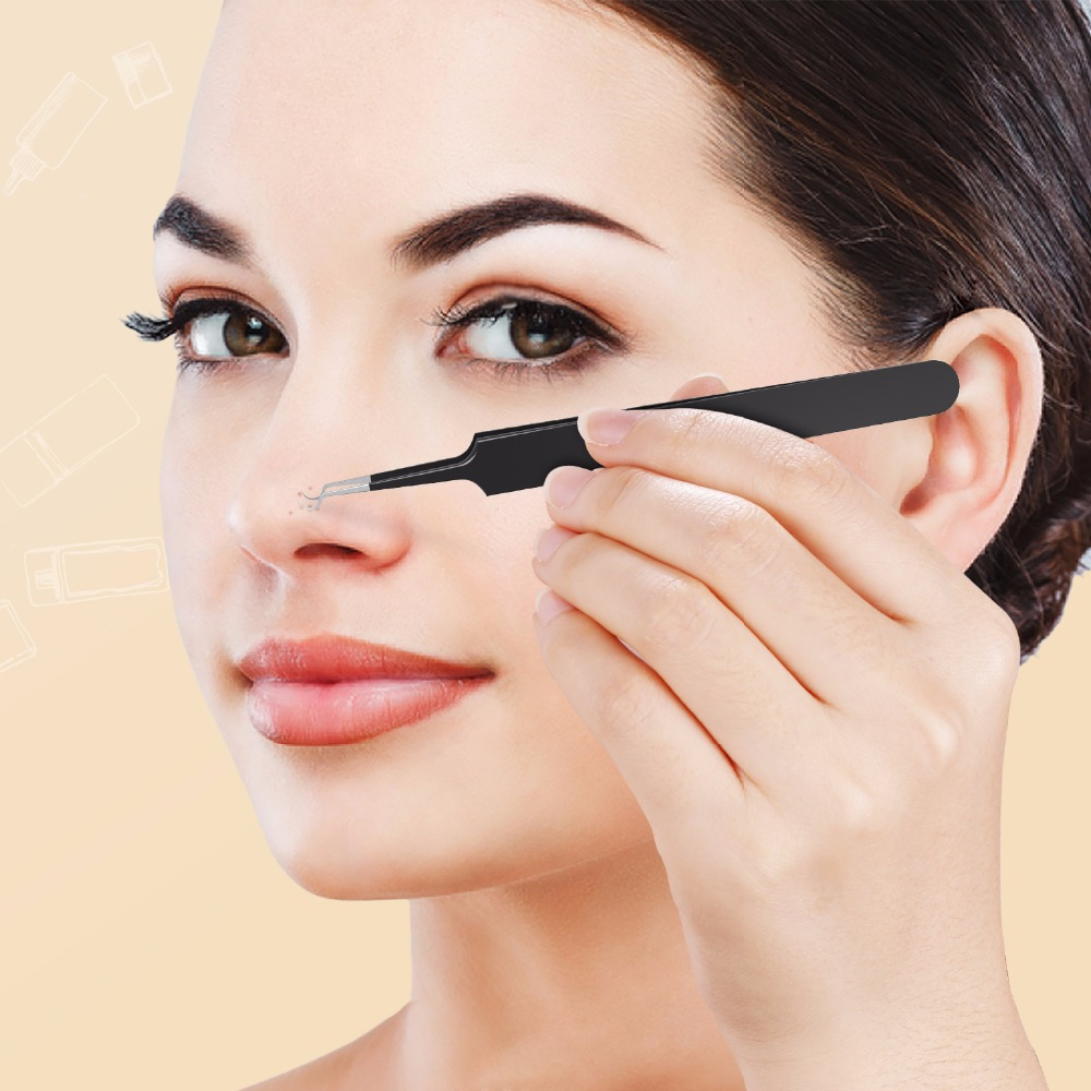 1PC Professional Blackhead Acne Tweezer Whitehead Removal Black Color Needle Extractor Curved Tweezer Face Skin Care Beauty Tool 8