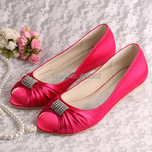 (20 Colors)Fuchsia Color Satin Bridal Shoes Ballerina Flats Open Toe with Charms Size 8