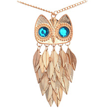 Match-Right Vintage Leaves Owl Necklace Pendant Women Long Chain Necklaces & Pendants Jewelry For Gift Party(China)