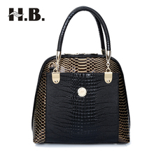 HIBO Handbags new European and American fashion snake skin pattern leopard women handbags shoulder bags Female Messenger bag