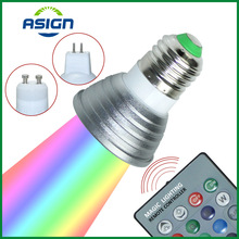 LED 16 Colour RGB Spotlight E27/GU10 AC: 86-265V  MR16 DC:12V RGB Colourful Lamp LED 3W Lighting +24 Key IR Remote Control